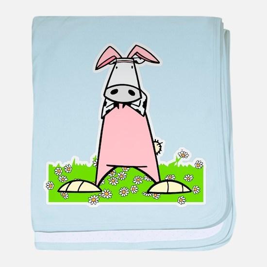 Easter Bunny Cow baby blanket