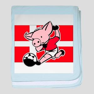 Denmark Soccer Pigs baby blanket