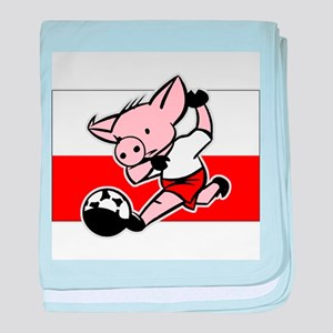 Poland Soccer Pigs baby blanket