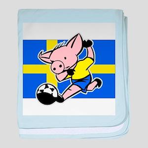 Sweden Soccer Pigs baby blanket