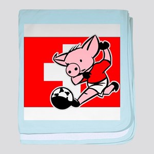 Switzerland Soccer Pigs baby blanket