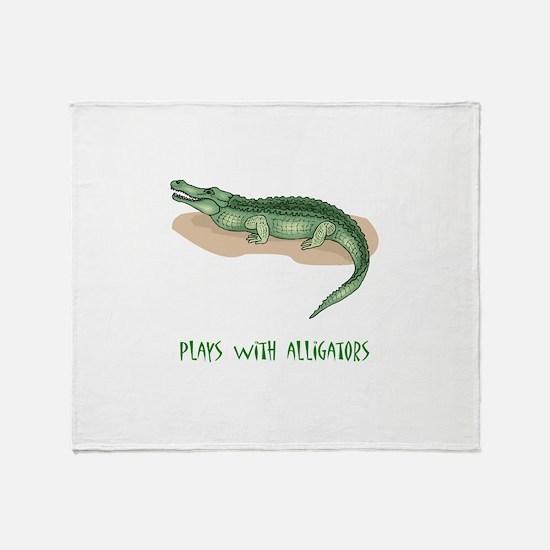 Plays With Alligators Throw Blanket