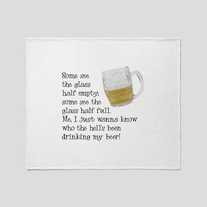 Half Glass Of Beer Throw Blanket