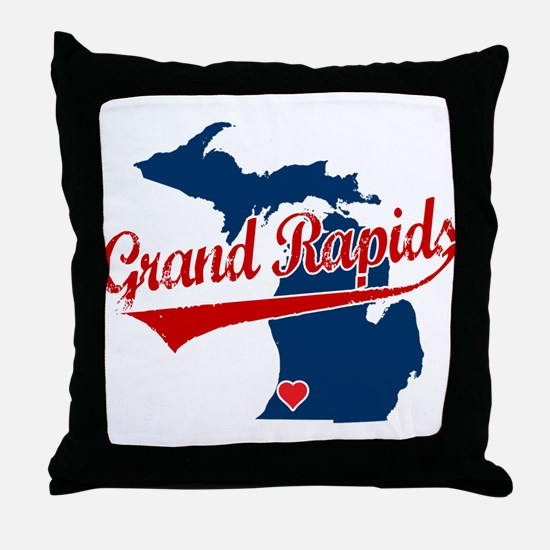 Grand Rapids, where the heart Throw Pillow
