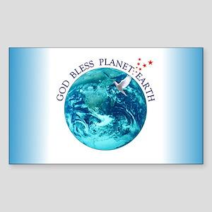 God Bless Planet Earth Rectangle Sticker