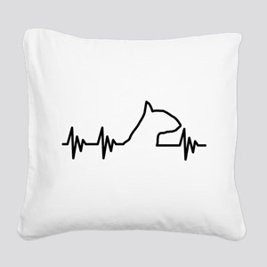 BULL TERRIER HEART BEAT Square Canvas Pillow