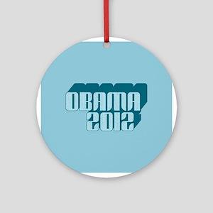 Blue Obama 3D 2012 Ornament (Round)