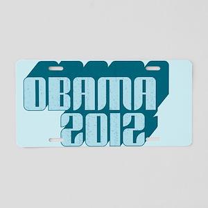 Blue Obama 3D 2012 Aluminum License Plate