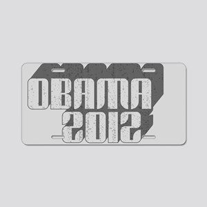 Gray Obama 3D 2012 Aluminum License Plate