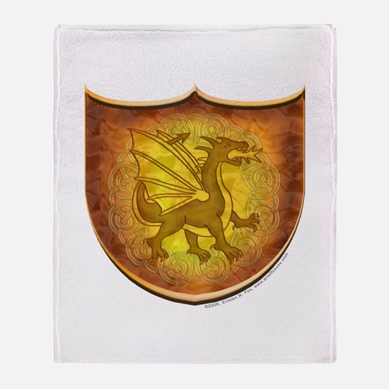 Copper Dragon Shield Throw Blanket