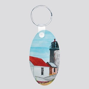 monhegan lighthouse Oval Keychain