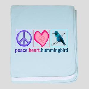 PEACE HEART HUMMINGBIRD baby blanket