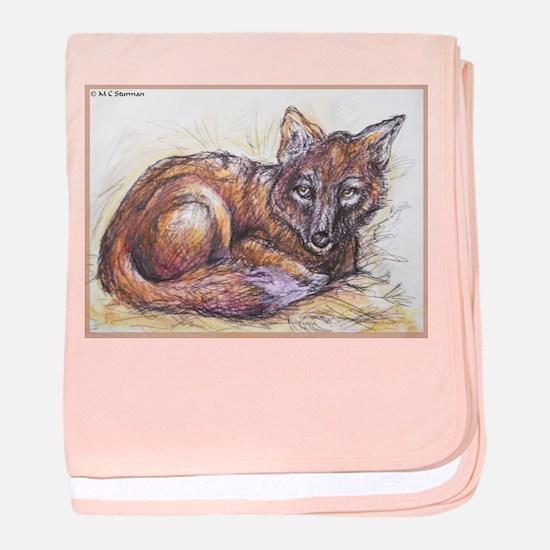 Fox! Wilflife art! baby blanket