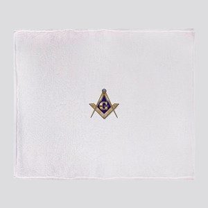Discreet Blue Square & Compasses Throw Blanket
