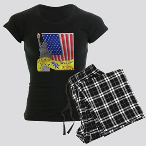 Home of the Free Because of t Women's Dark Pajamas