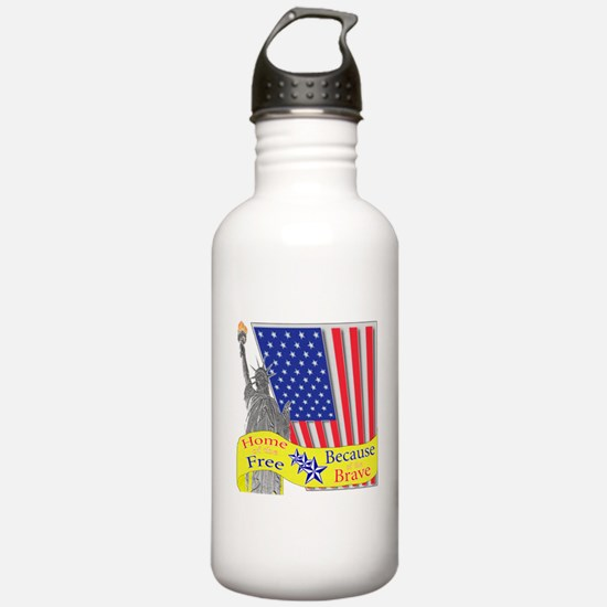 Home of the Free Because of t Water Bottle