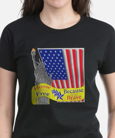 Home of the Free Because of t Women's Dark T-Shirt
