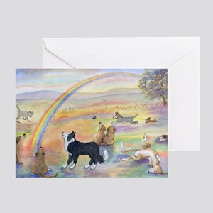 Dogs waiting at Rainbow Bridg Greeting Card