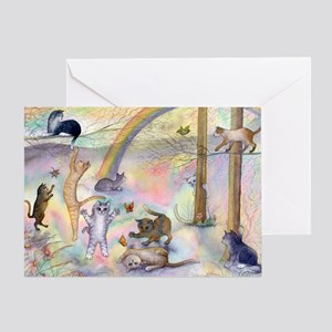 Cats waiting at Rainbow Bridg Greeting Card