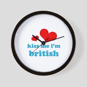 kiss me i'm british Wall Clock