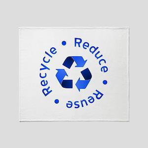 Blue Reduce Reuse Recycle Throw Blanket