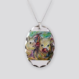 Pig, Pair Necklace Oval Charm