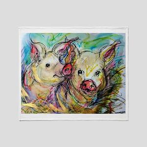Pig, Pair Throw Blanket