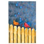 Cardinals on the Fence Large Poster