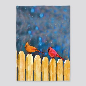 Cardinals on the Fence 5'x7'Area Rug