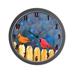 Cardinals on the Fence Wall Clock
