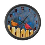 Cardinals on the Fence Large Wall Clock