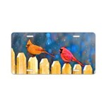 Cardinals on the Fence Aluminum License Plate