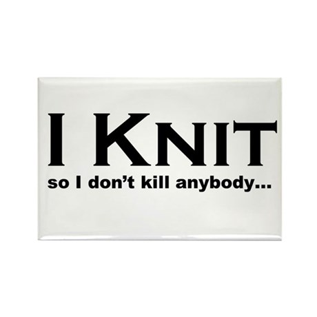 I KNIT... Rectangle Magnet