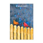 Cardinals on the Fence Mini Poster Print