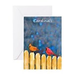 Cardinals on the Fence Greeting Card