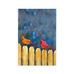 Cardinals on the Fence Rectangle Magnet (10 pack)