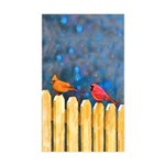 Cardinals on the Fence Sticker (Rectangle)