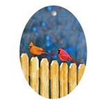 Cardinals on the Fence Oval Ornament