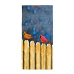 Cardinals on the Fence Beach Towel