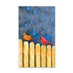 Cardinals on the Fence Rectangle Car Magnet