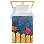 Cardinals on the Fence Twin Duvet Cover
