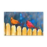 Cardinals on the Fence Car Magnet 20 x 12