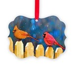 Cardinals on the Fence Picture Ornament