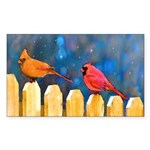 Cardinals on the Fence Sticker (Rectangle 50 pk)