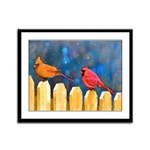Cardinals on the Fence Framed Panel Print