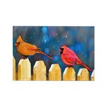 Cardinals on the Fence Rectangle Magnet
