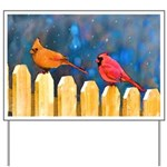 Cardinals on the Fence Yard Sign