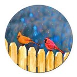 Cardinals on the Fence Round Car Magnet