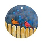 Cardinals on the Fence Round Ornament
