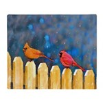 Cardinals on the Fence Throw Blanket